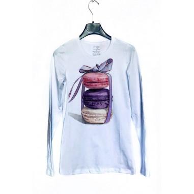 Дамска блуза с щампа - Френски макарони