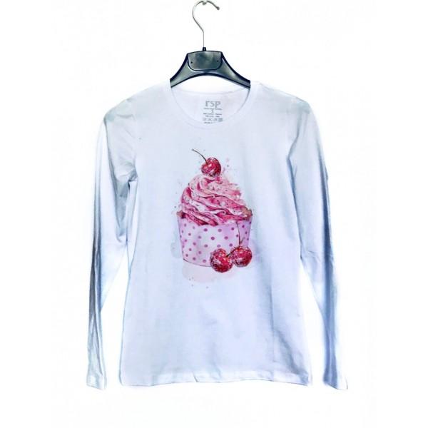 Дамска блуза с щампа - Кексче от категория Дамски блузи