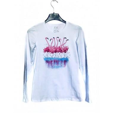 Дамска блуза с щампа - Фламинго