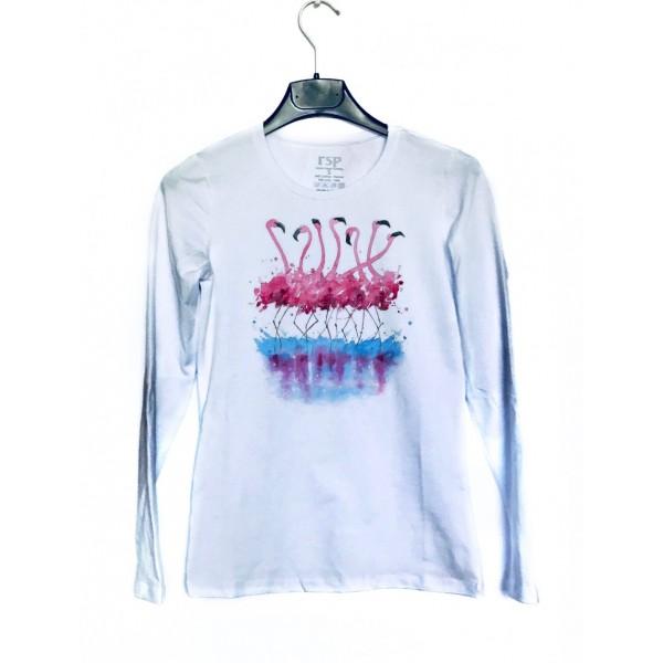 Дамска блуза с щампа - Фламинго от категория Дамски блузи