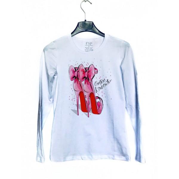 Дамска блуза с щампа - Обувки от категория Дамски блузи