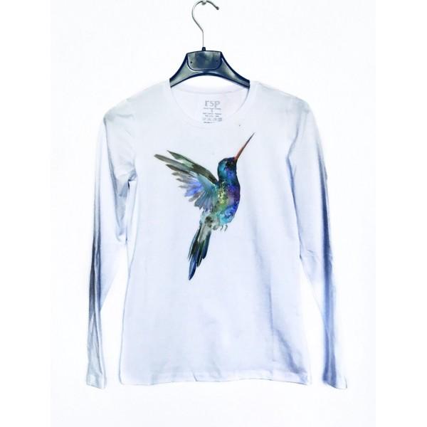 Дамска блуза с щампа - Колибри от категория Дамски блузи