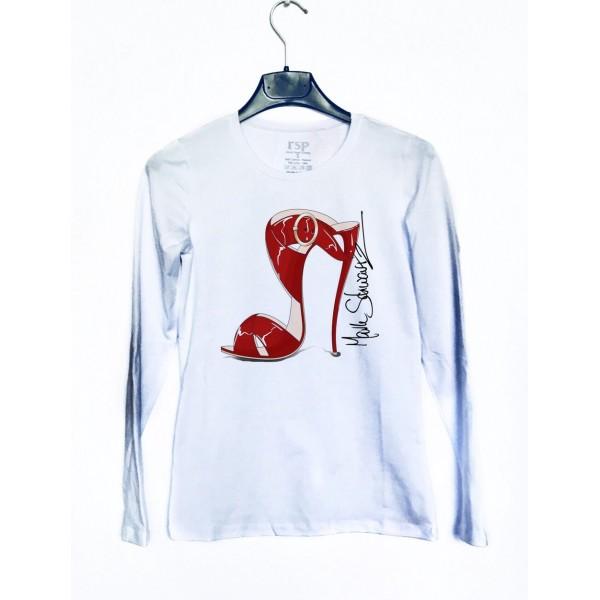 Дамска блуза с щампа - червена обувка от категория Дамски блузи