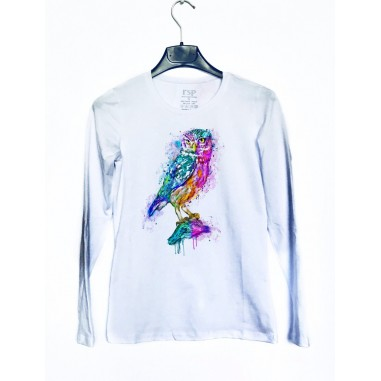 Дамска блуза с щампа - Бухал