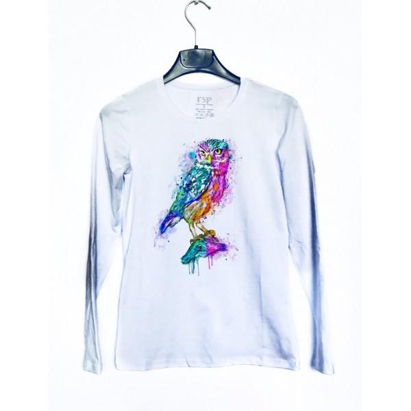 Дамска блуза с щампа - Бухал от категория Дамски блузи
