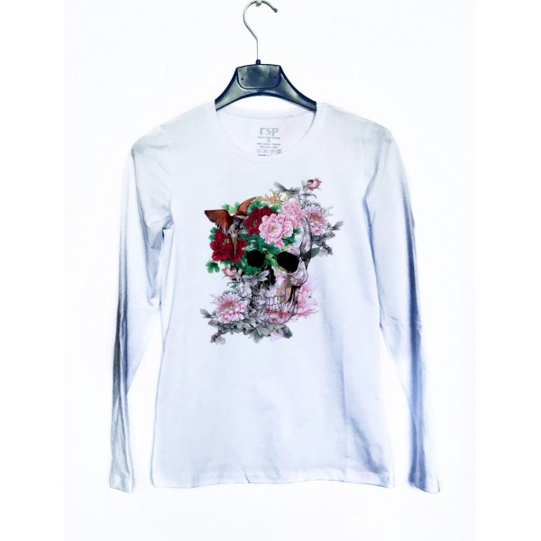 Дамска блуза с щампа - череп и цветя от категория Дамски блузи