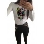 Дамска блуза с щампа - череп с пеперуди от категория Дамски блузи
