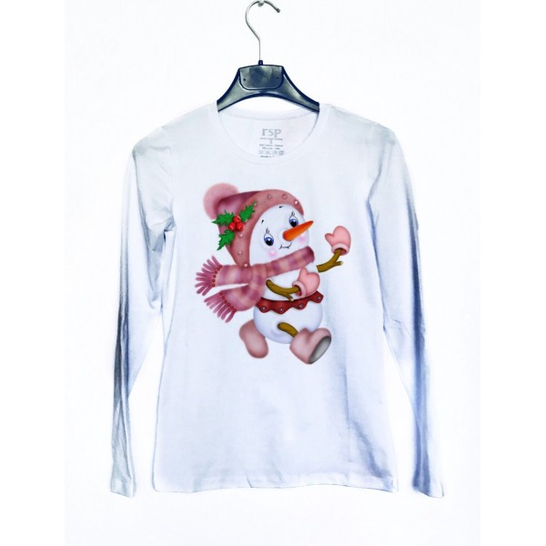 Дамска блуза с щампа Снежен човек от категория Дамски блузи